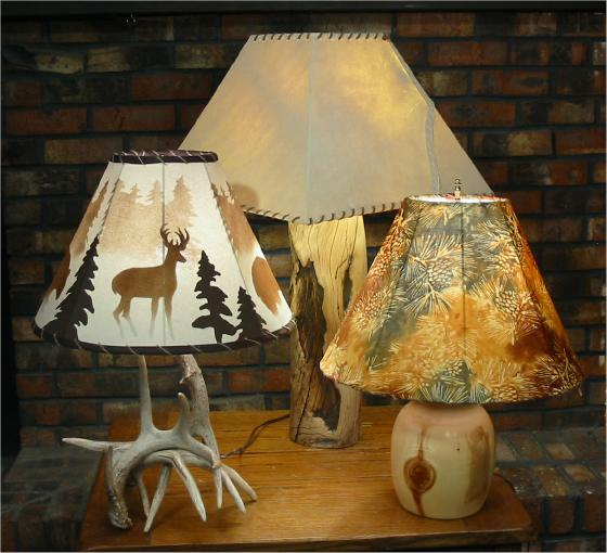 Ashling Designs antler lamp, log lamp and lampshades picture