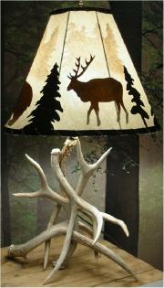 Antler Lamp with forest mist shade
