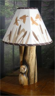 Pine log lamps with cattail marsh lampshade