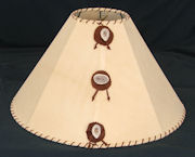 Chamois lampshade with antler buttons